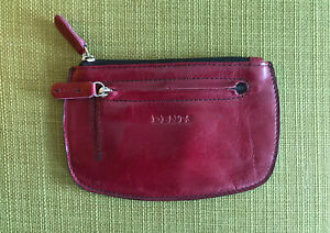 Dents Leather Red Coin Purse With Zip/zip Front Pocket VGC