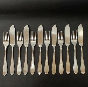 Krupp Berndorf, Jugendstil, versilbert, 12tlg Fischbesteck, 6 Messer,6 Gabeln