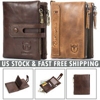 Vintage Mens Women Wallet Genuine Leather RFID Double Zipper Coin Pocket Purse