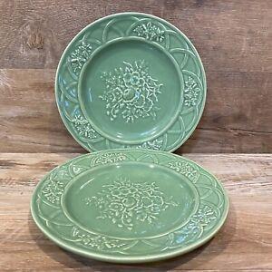 """RARE Two Bordallo Pinheiro Green Dinner Plates Caldas Da Rainha 8-1/4"""" Portugal"""