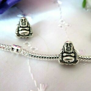 Good Luck Happy Buddha, Meditation, Smiling Seated Silver Charm for Bracelet