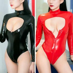 Women PVC Leather Leotard Bodysuit Wet Look Zipper Jumpsuit Clubwear Romper Tops