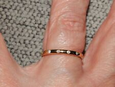 DIAMOND BUTTON THIN  BAND/STACKABLE RING-SIZE S-0.050CTS-WITH 14K GOLD