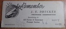 1940'S Advertisement Blotter J E Drucker Insurance Underwriters Warren Michigan
