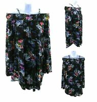 Green Dragon Cold Shoulder Tunic Top Womens Multi Color Floral Long Sleeve