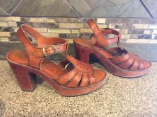 Vintage Womens Woodworks By Thom McAn Sz 8 B Brown Leather Wooden Heels Shoes