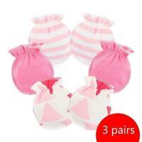 3Pcs Baby Infant Anti-scratch Cotton Mittens Gloves Months Handguard 0-6 Ho X0U5