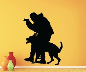 Policeman And Dog Wall Decal Vinyl Sticker Police K9 Dog Bedroom Decor Removable