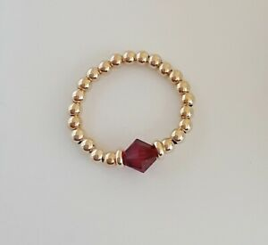14K Gold Filled Bead Stretch Ring with Birthstone Choice / All Sizes