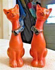 Vintage 1950'S Colorful Hand Painted Porcelain Orange Cats Shakers - Japan