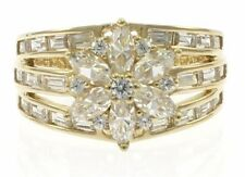 Ladies Cubic Zirconia Cluster Ring in 14 Kt Yellow Gold
