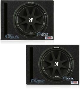 "2) Kicker 15"" 600W Car Audio Power Subwoofer + 2) 15"" Vented Subwoofer Box"