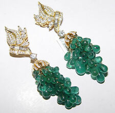 GRAPE 3.50CT(Est.) Diamond 10.00CT+ Emerald Chandelier Earrings 18K gold AKMS