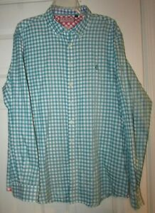 Thomas Pink Mens Casual Button Front Shirt Sz XL Green Check Pattern