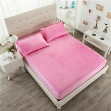 """3 Pieces Cal King Velvet 14"""" Deep Pocket Baby Pink (1Fitted sheet 2pillow cases)"""