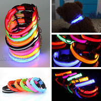 Collar Nylon Glow Adjustable Safety Dog LED Safe Pets Night Flashing Light up -N