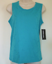 New Womens S 6 8 blue embroidered swirl stitching tank top sleeveless blouse