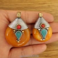 PN008 Nepal Handmade Pendant Necklace Ethnic Tibetan Brass Resin Amber Charms