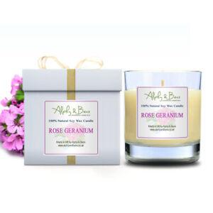 Alphy&Becs Candles Glass Rose Geranium Eco Soy 200gr HandMade In UK