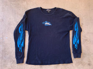 Vintage No Fear Long Sleeve Thermal Shirt Navy Blue Size Large