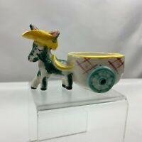 Vintage Donkey Horse Pulling Cart Planter Yellow Hat - Unknown Maker