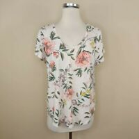 Ann Taylor Loft Vintage Soft Floral Tee T-Shirt L Large Short Sleeve Scoop Neck