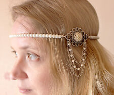 vintage/flapper/Gatsby/1920s ivory pearl headband with diamanté & rose cabochon