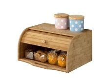 Wood Roll Top Bread Box Bamboo Bakery Storage Bin Bagel Home Kitchen Pantry Cafe
