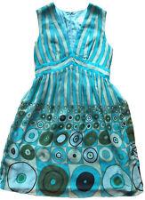 Anthropologie ANNA SUI Silk Chiffon Empire Waist Dress Sz 8 Aqua Green Stripe