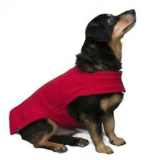 Red/Charcoal Reversible Double Layered Fleece Lux Dog Coat ~ Size Medium
