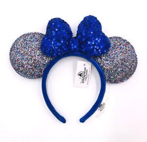 Disney Parks Minnie Ears Cute Mickey 2020 Celebration Blue Sparkle Bow Headband