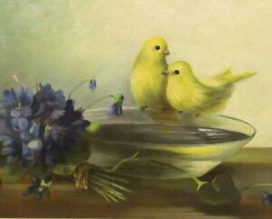 Antique/Vintage Victorian Oil & Masonite Painting Birds Violets Lemon Gilt Frame