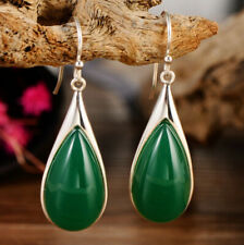 G01 Earring Drop Made of Green Agate and Sterling Silver 925