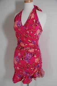 Emanuel Ungaro Sun Pink Floral Cotton Halter Dress NWT Size 42 US Medium