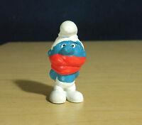 Smurfs 20004 Shiver Smurf Scarf Face Mask Vintage Figure Christmas Toy Figurine