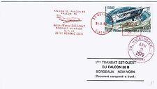 FDC-FALCON 50 B-DASSAULT-BORDEAUX-NEW YORK-DOCUMENT TRANSPORTÉ À BORD-1980