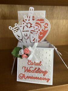 Handmade Coral  35th wedding anniversary pop up card