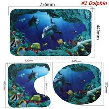 3Pcs/Set Non-Slip Blue Sea Ocean Pedestal Rug+Lid Toilet Cover+Bath Mat