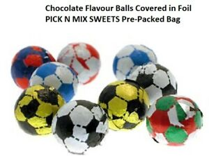 CHOCOLATE FLAVOUR FOOTBALLS RETRO CANDY PICK N MIX SWEETS Pre-Packed Bag