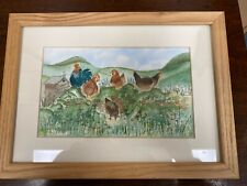Framed Nicolette Bitschi Pen and Wash: 'Now Girls' Chickens Picture (Hospiscare)