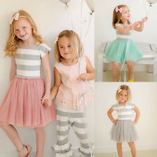 Summer Kids Baby Girls Striped Lace Tulle Tutu Dress Princess Party Wedding Gown