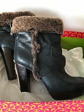 TORY BURCH Sebastian Black Smoke Heater Shearling High Heel Bootie Sz 7