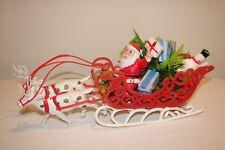 Vintage Kitsch Christmas 50s Santa Flocked Sleigh & Reindeer Frosty Centerpiece