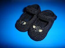 CROCHET HANDMADE BABY GIRL DOLL BOOTIES SHOES BLACK MARY JANE