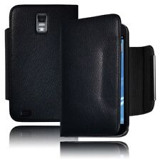Heavy Duty Hybrid Black Leather Wallet Flip Case For Samsung Galaxy S2 II T989