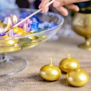 3 Gold Floating Candles Gold Wedding Candle Gold Decorations Table Candles