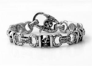 Ship From USA Rocker Biker Gothic SKULL Silver Stainless Steel Bracelet Chain