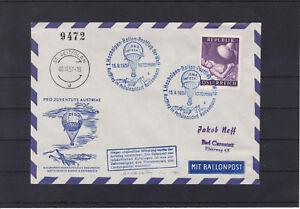 Ballonpost 1957 auf nummeriertem Kuvert Hochalpenflug