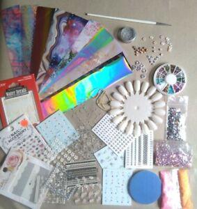 Nail Art Bundle Stickers Water Decals silver Foil Glitter Decorations joblot AB