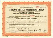 Kirkland Minerals Corporation Limited. Stock Certificate. Toronto, Ontario. 1959